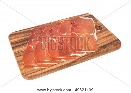 Jerked meat and dry-cured ham from Spain (Jamon iberico) poster