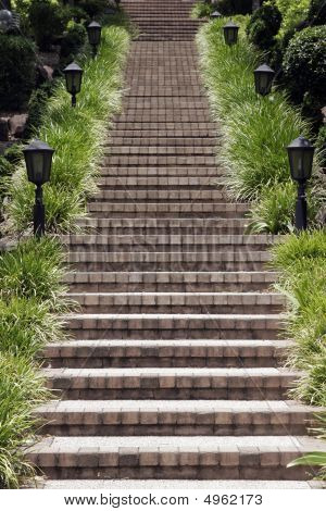 Long Outdoor Stone Steps In A Park