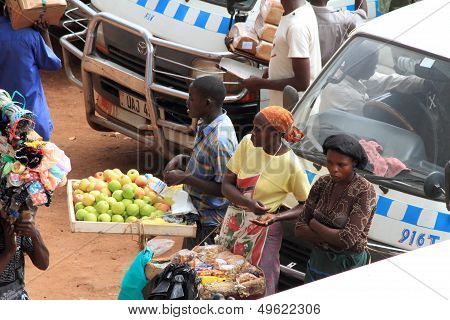 African Market Vendors Selling Their Merchandise