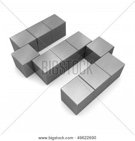 Letter S Cubic Metal
