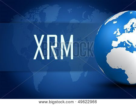 Extended Relationship Management concept with globe on blue world map background poster