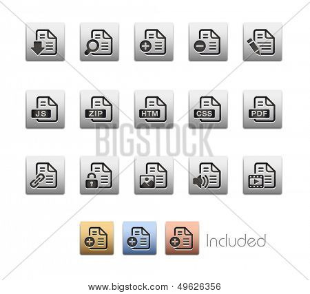 Documents Icons - Set 1 of 2 // Metallic Series - It includes 4 color versions for each icon in different layers.