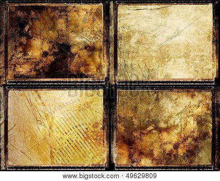 set of grungy framed backgrounds