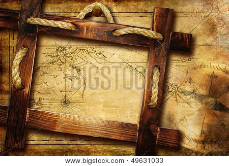 adventure background with map and wooden frame