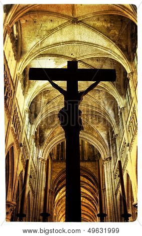 drammatic scene with cross inside cathedral - artistic picture