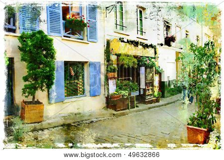 streets of old Montmartre (Paris)- watercolor style