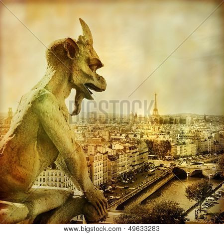 view of Paris from Notre dame - artistic style picture