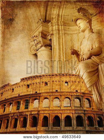 Old Rome - conceptual collage in retro style