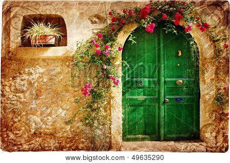 old pictorial greek doors