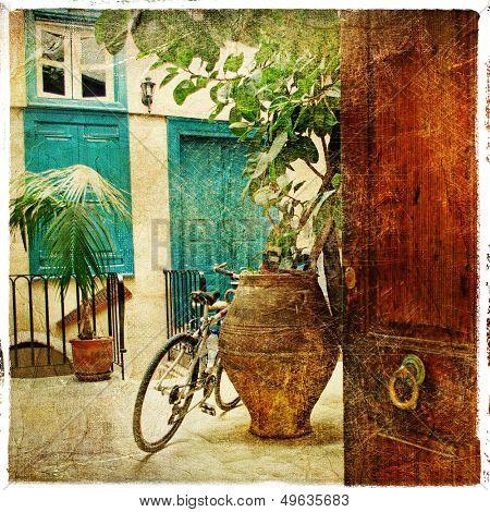 pictorial greek villages artwork in retro style