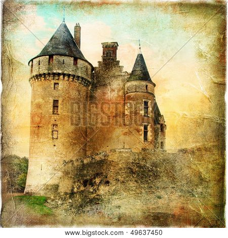 medieval castle - artwork in painting style