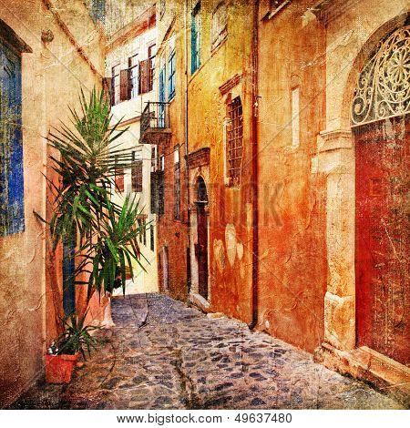 old pictorial greek streets - vintage artistic series poster