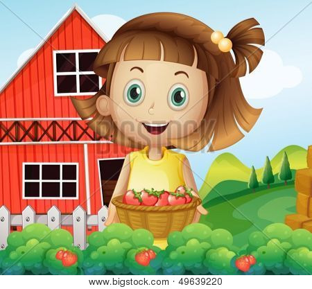 Illustration of a girl harvesting at the strawberry farm