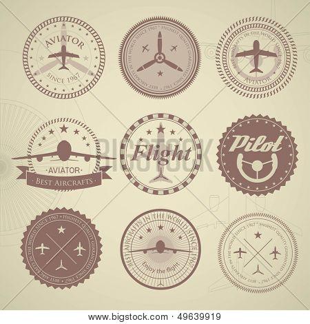 Set of vintage aviation labels - sandy