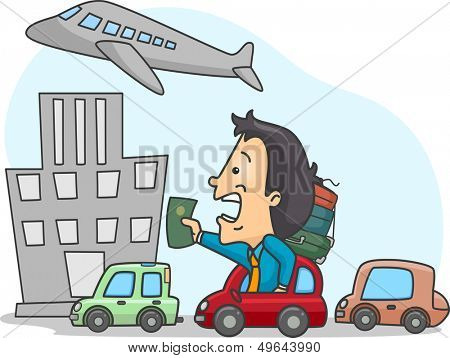 Illustration of a Man Stuck in Traffic and Late for His Flight