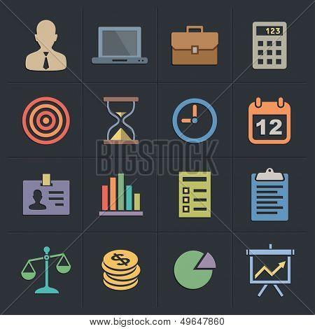 Business Icons. Flat Metro Style Icon Set. Vector illustration.