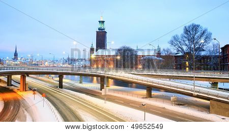 Panorama Landscape of Stockholm Cityhall at dusk with transportation light trail Sweden
