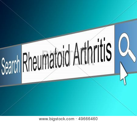Illustration depicting a screen shot of an internet search bar containing a Rheumatoid Arthritis concept. poster