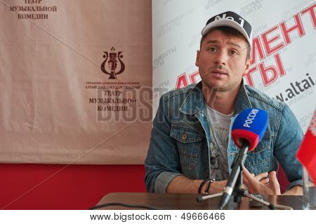 BARNAUL, RUSSIA - JUNE 4: Sergey Lazarev, famous singer before concert at Barnaul on June 4, 2013 in Barnaul, Russia.