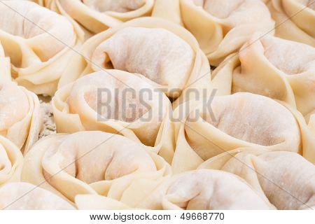 Homemade dumpling close up