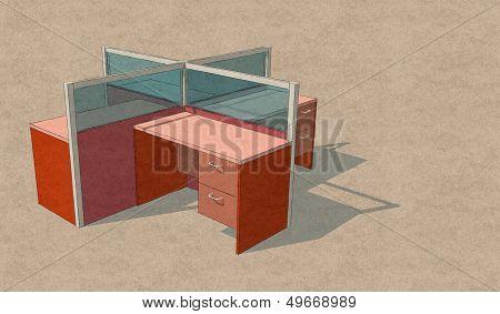 Four Office Table Set Sketch Design