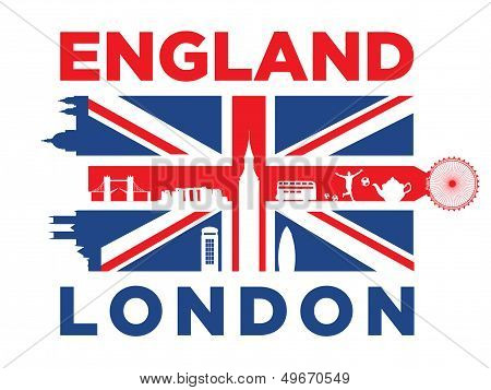 United Kingdom flag and silhouettes