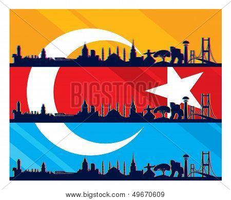 turkish flag and silhouette landmarks