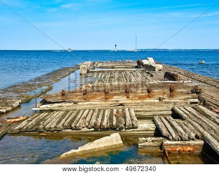 Old Wooden Ship Sunk. Tallinn