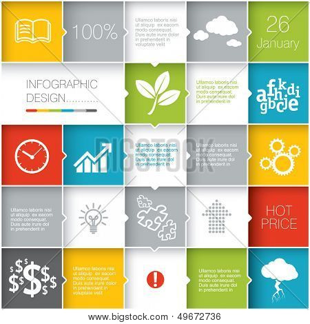 Squares background.  Vector template for interface or infographic ready to place for your content