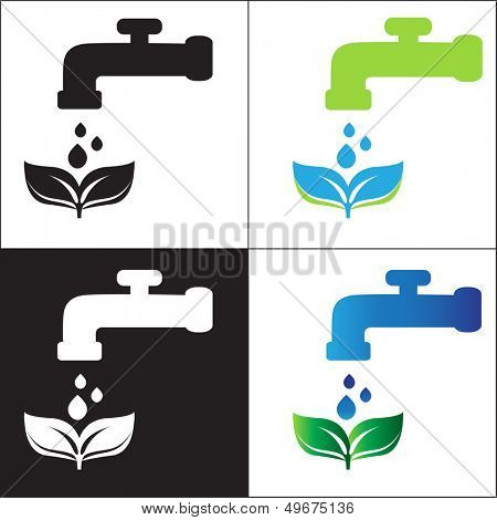 Water tap and green leaves. Eco concept.