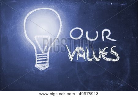 Chalk Design With Lightbulb, Business Values