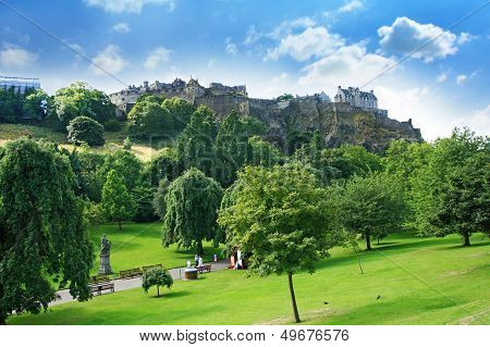 Princes Street Gardens And Edinburgh Castle, Scotland
