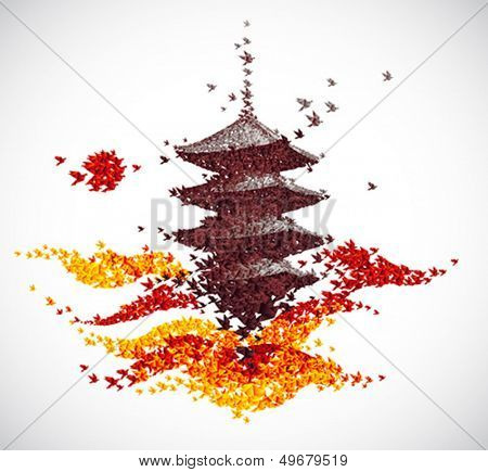 Japan castle autumn landscape - abstract background vector