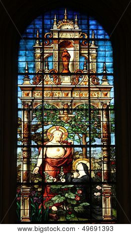 PARIS, FRANCE - NOV 07, 2012: Sacred Heart of Jesus and Marguerite Marie Alacoque, stained glass, Church of St. Gervais and St. Protais, France on Nov 07, 2012