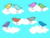 Vector illustration of paradise birds on the clouds background poster