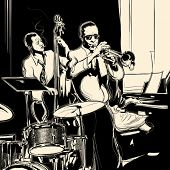 Vector illustration of a Jazz band with double-bass - trumpet -piano and drum poster