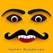 Indian festival Happy Dussehra concept with Ravana face.  poster