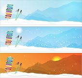 Set of Ski trip Banners with most famous ski destinations poster