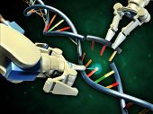 Two robotic arms modifying a dna helix. Digital illustration. poster