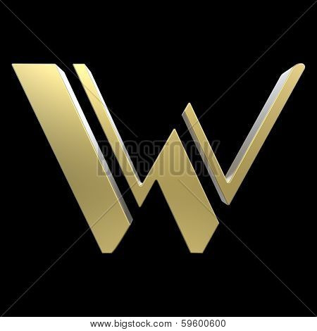 golden art deco alphabet, letter W isolated on black background poster