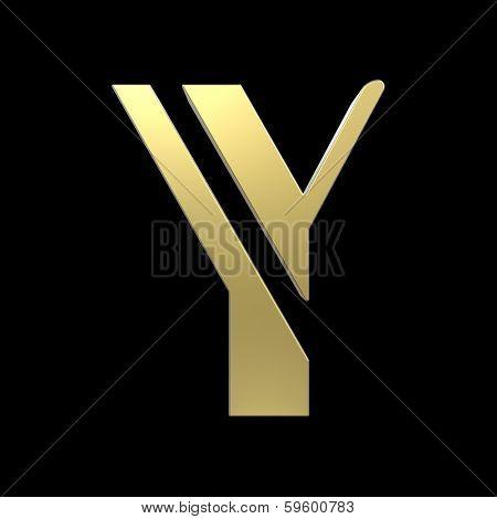 golden art deco alphabet, letter Y isolated on black background poster