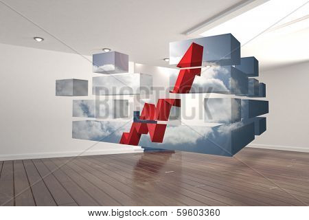 Arrow in sky on abstract screen against digitally generated room with stairs poster