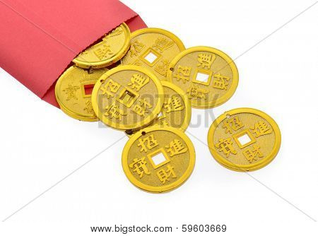 Good luck coins in a red envelope for the Chinese New Year