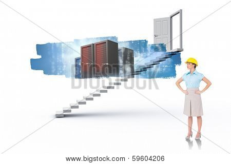 poster of Serious attractive architect posing against abstract screen in room showing server towers