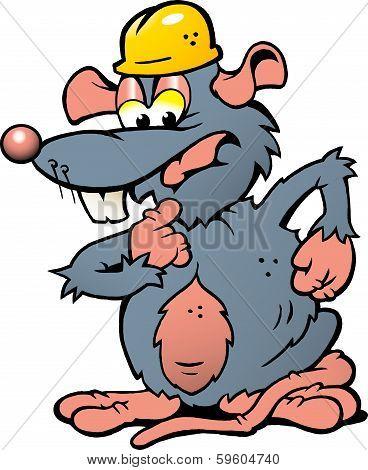 Hand-drawn Vector Illustration Of An Wondering Rat With Helmet