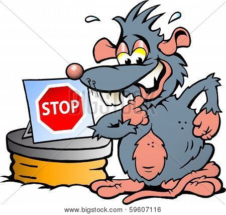 Hand-drawn Vector Illustration Of  An Scared Rat Standing In Front  Of Sewer With A Stop Sign