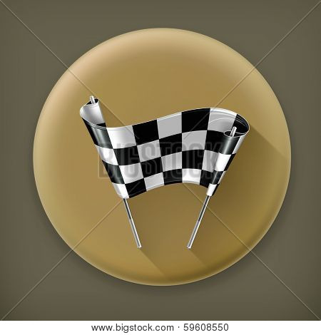 Finish line, long shadow vector icon