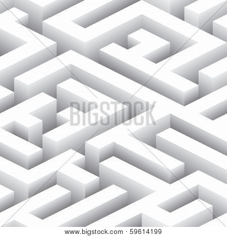 Endless Labyrinth. Seamless Background Pattern. Vector Illustration poster