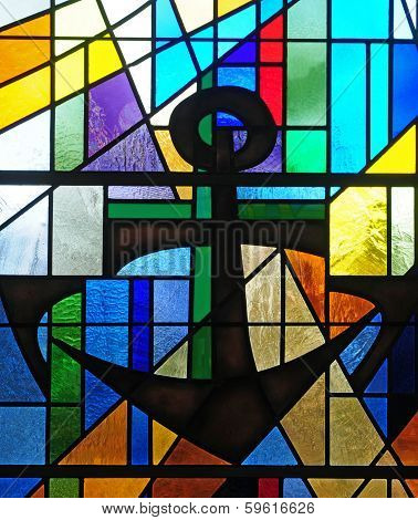 Stained glass window depicting ship anchor