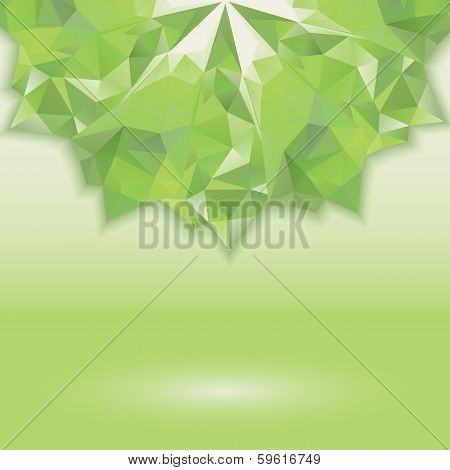 abstract background with green geometric shapes. illusion crystals. Horizontal location of the figure. Place your own text poster